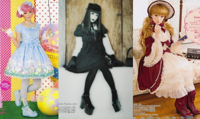 Examples of sweet lolita (Angelic Pretty), gothic lolita (Moi Meme Moitie) and classic lolita (Innocent World)