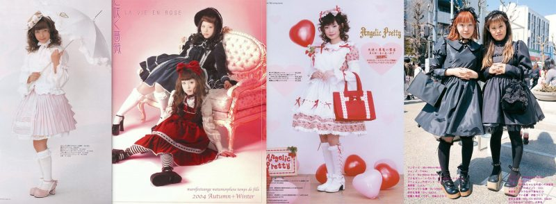 Early 00's examples of lolita fashion: Baby, The Stars Shine Bright, Metamorphose Temps de Fille, Angelic Pretty and lolitas as seen in FRUiTs magazine.